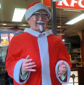 Colonel Sanders dressed up as Santa in Japan