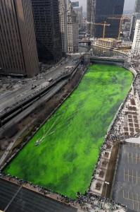 Crowds gather to see the emerald green river!